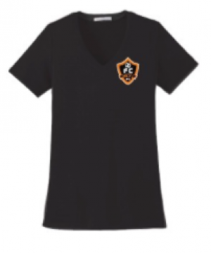 Woodhaven Soccer Club Spiritwear - PA Women's Stretch V-Neck Tee (Black)