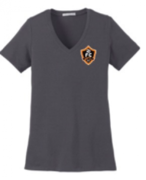 Woodhaven Soccer Club Spiritwear - PA Women's Stretch V-Neck Tee (Grey)