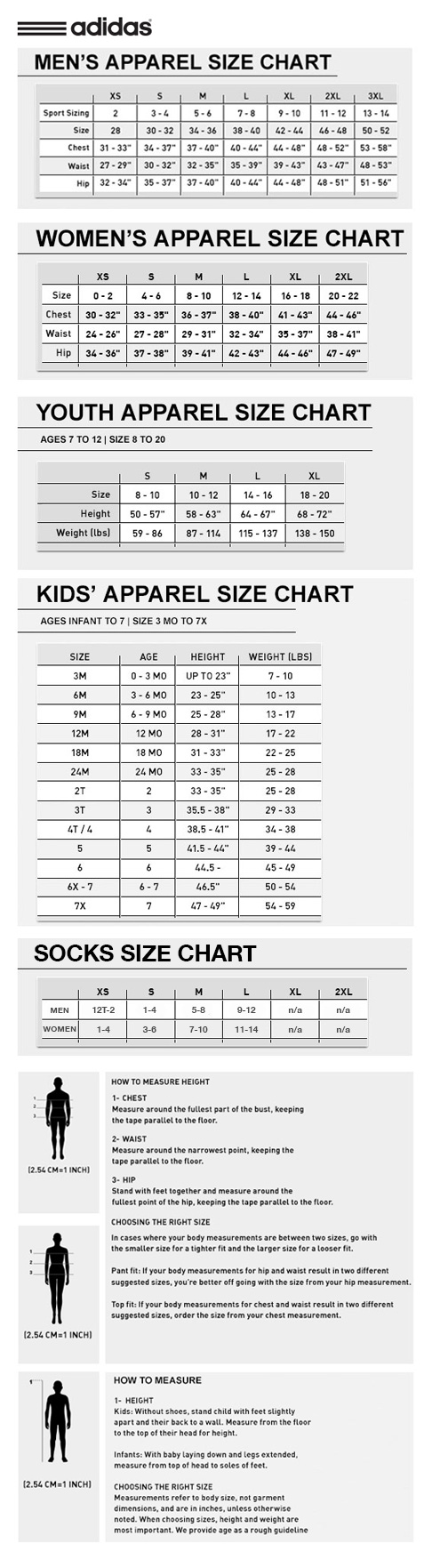 adidas apparel size chart